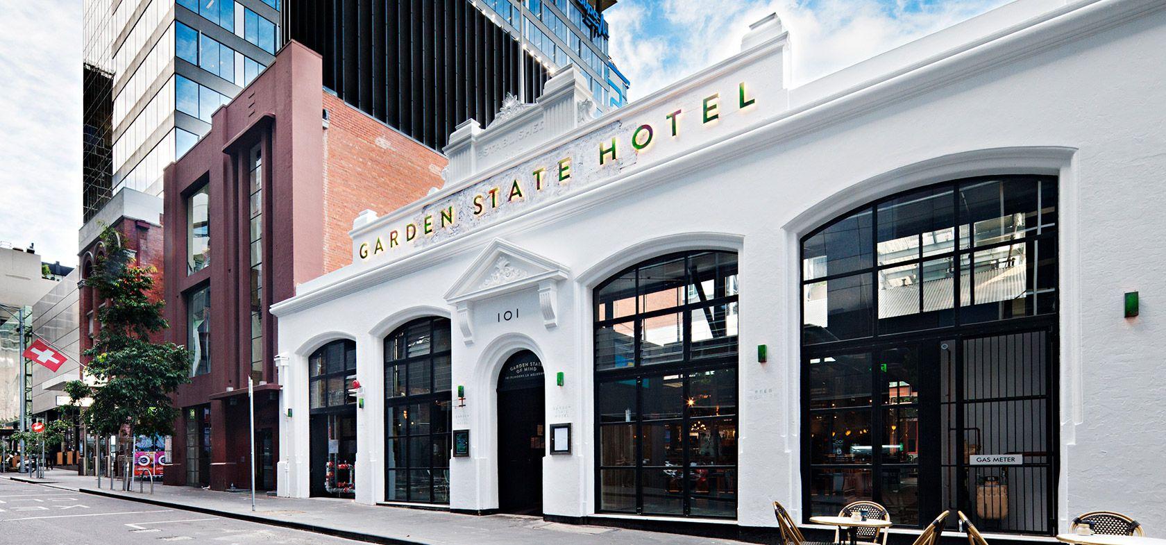 Garden State Hotel White Exterior Building Facade Flinders Lane Melbourne