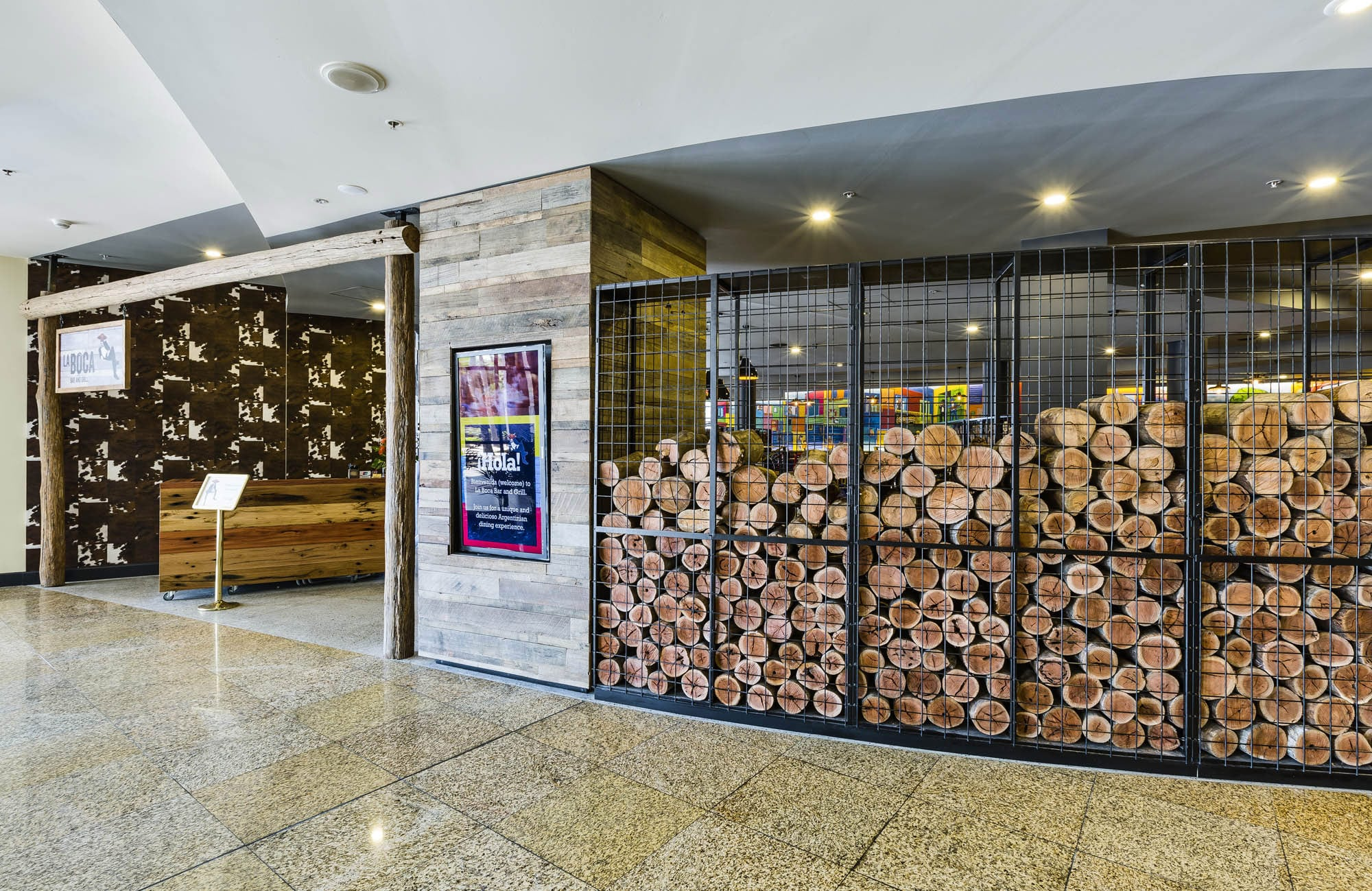 laboca bar and grill sydney exteiror timber logs