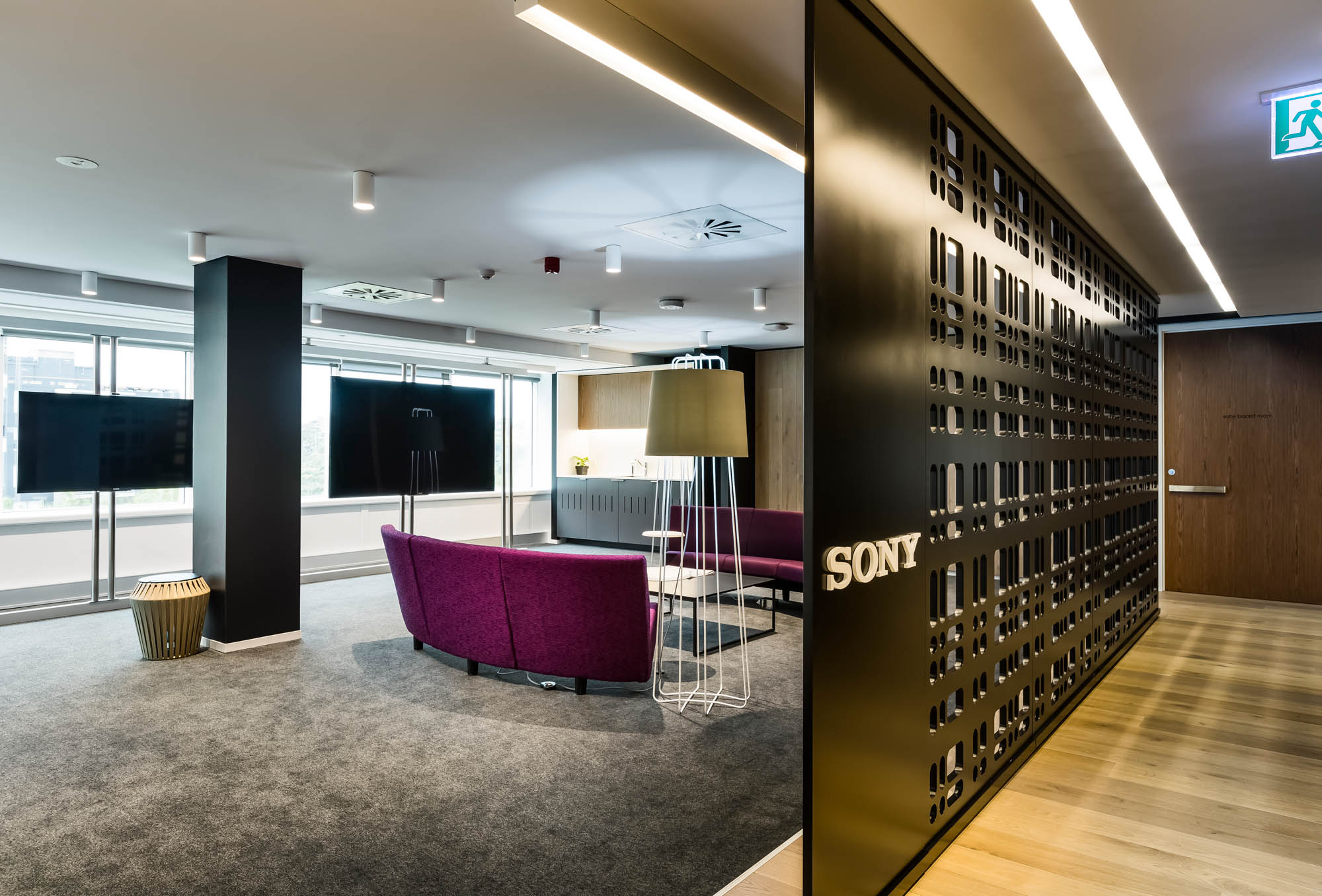 sony sydney office fitout room divider