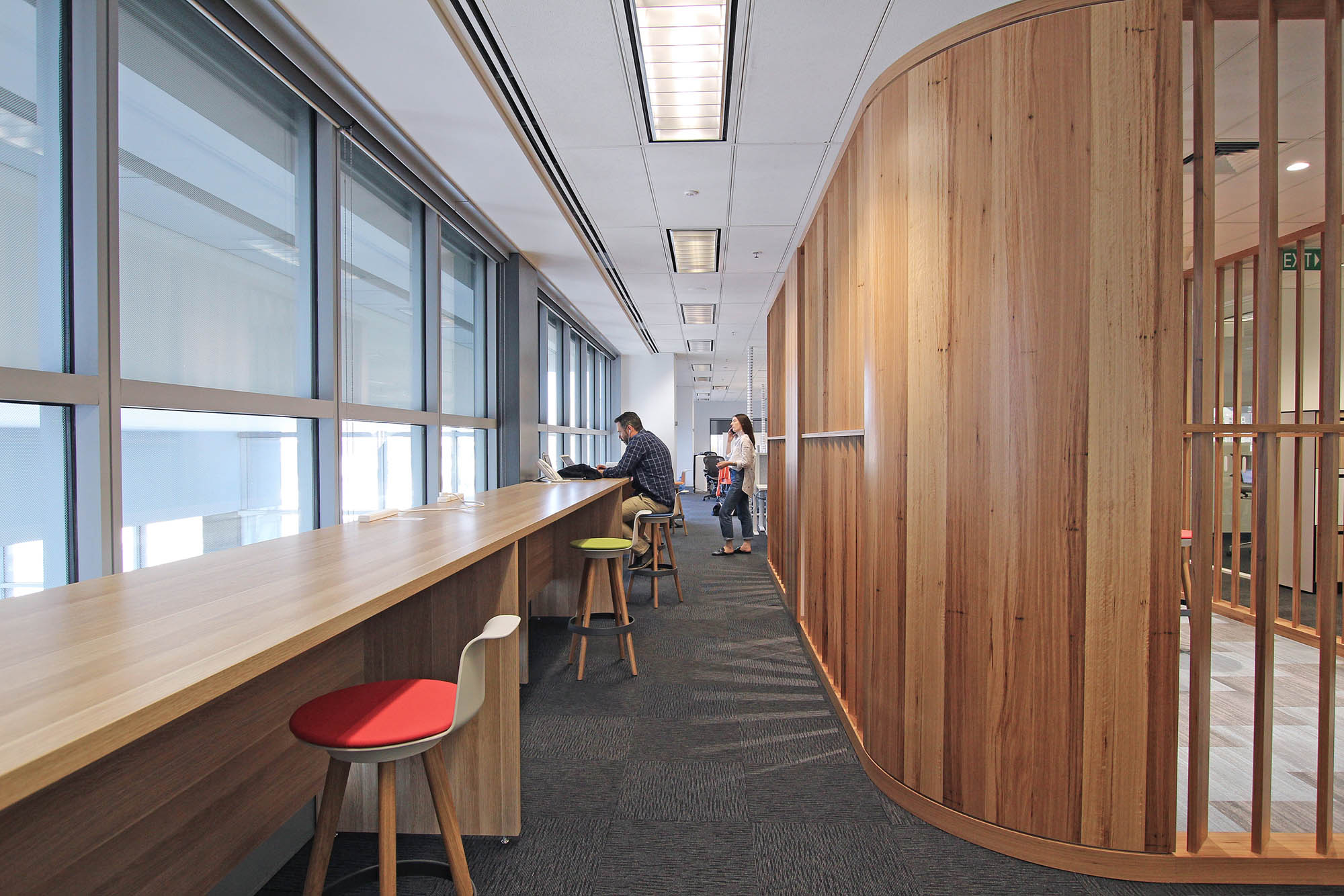 cisco melbourne office fitout timber panel