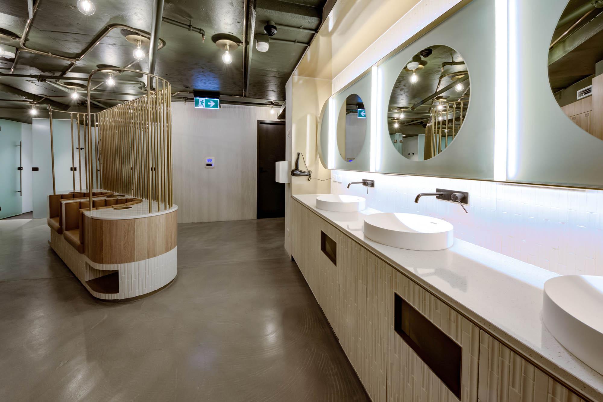 545 queen street brisbane end of trip bathroom timber vanity