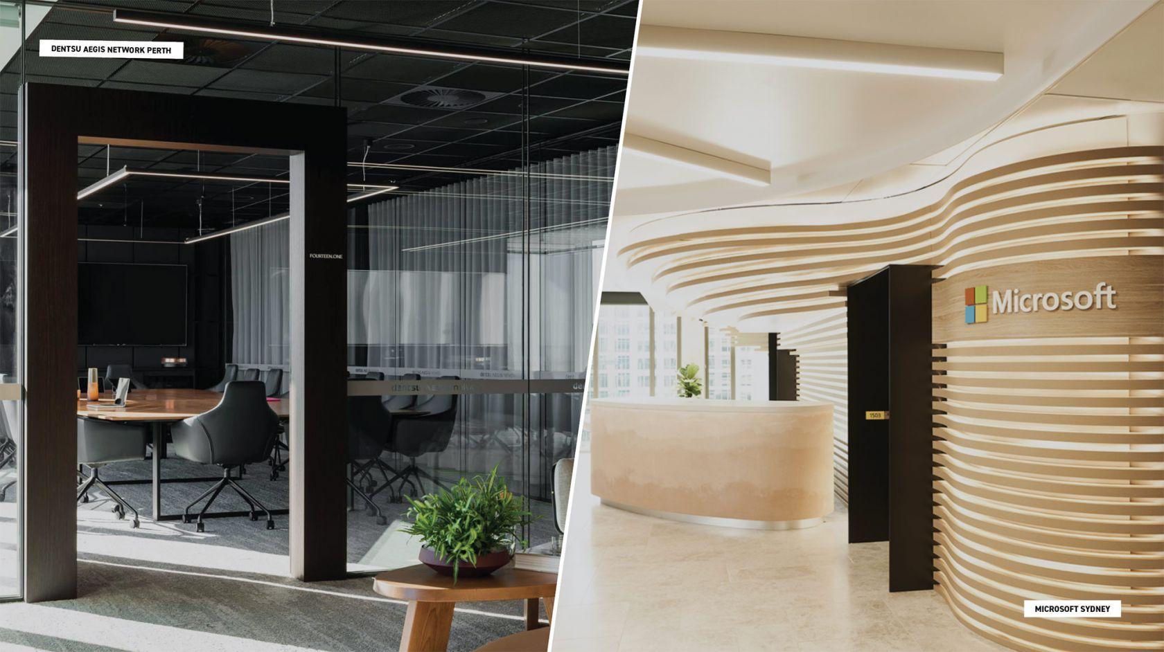 dentsu aegis office on left hand side of image and microsoft office on right hand side of image