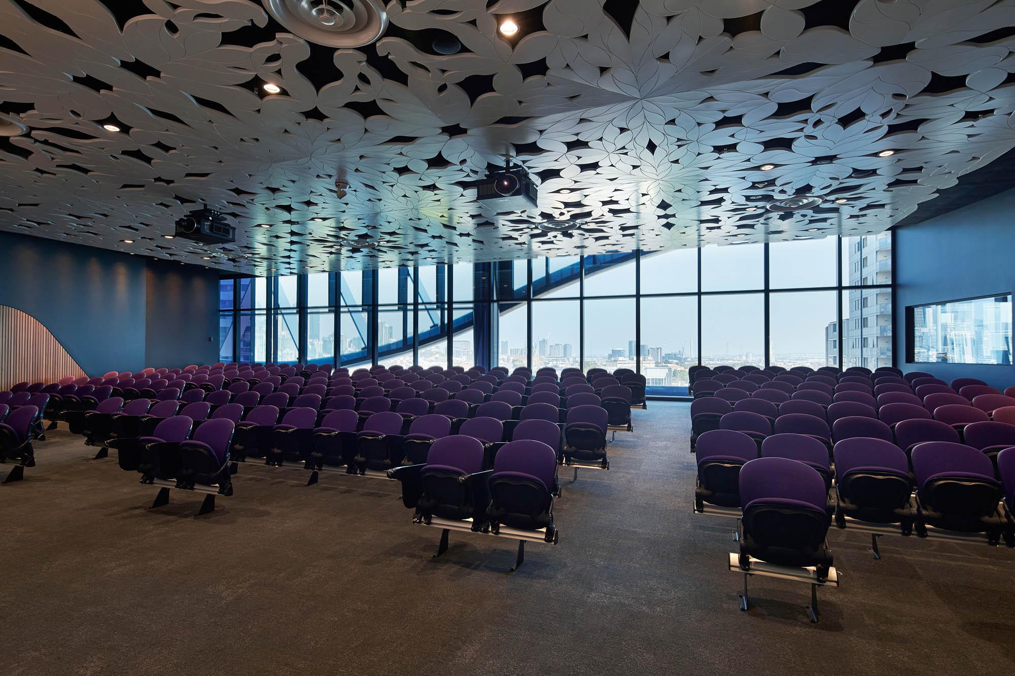 Victorian comprehensive cancer centre melbourne lecture theatre purple chairs