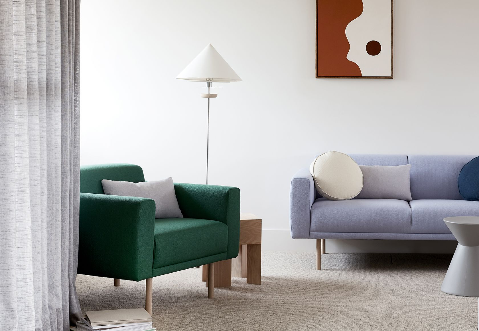 Elfin Sofa, Scatter Platter Cushions and La La Stool