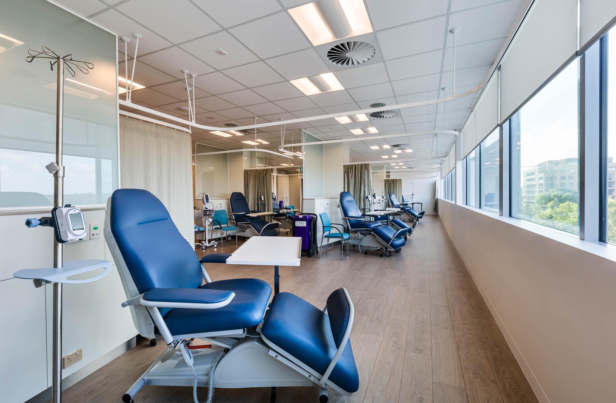 southside cancer care hospital fitout sydney patient treatment blue chairs