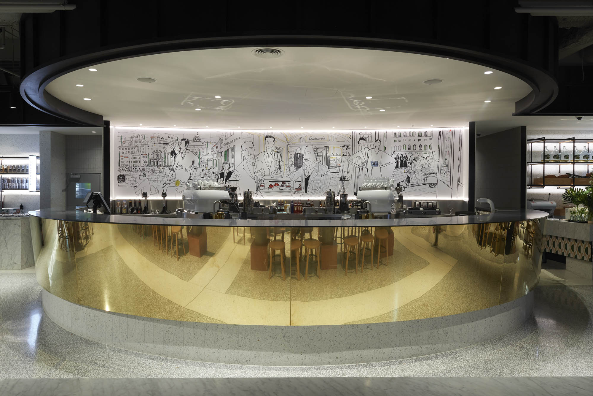 brunetti cafe emporium flinders lane hospitality demolition interior construction vic gold bar italian artwork coffee machine alcohol reflection