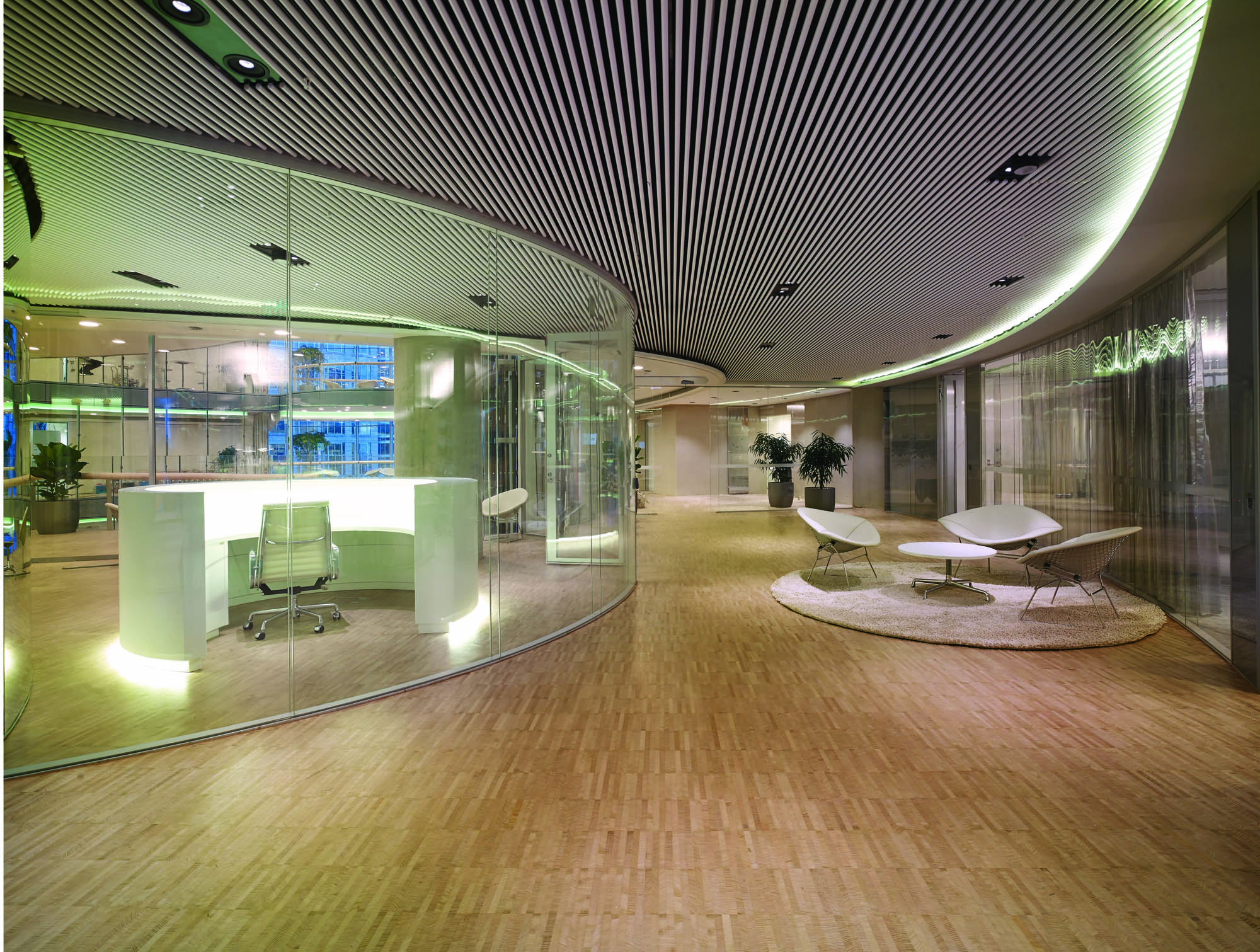 commonwealth parliament office sydney construction fitout curved glass ceiling battens seating collaborate waiting