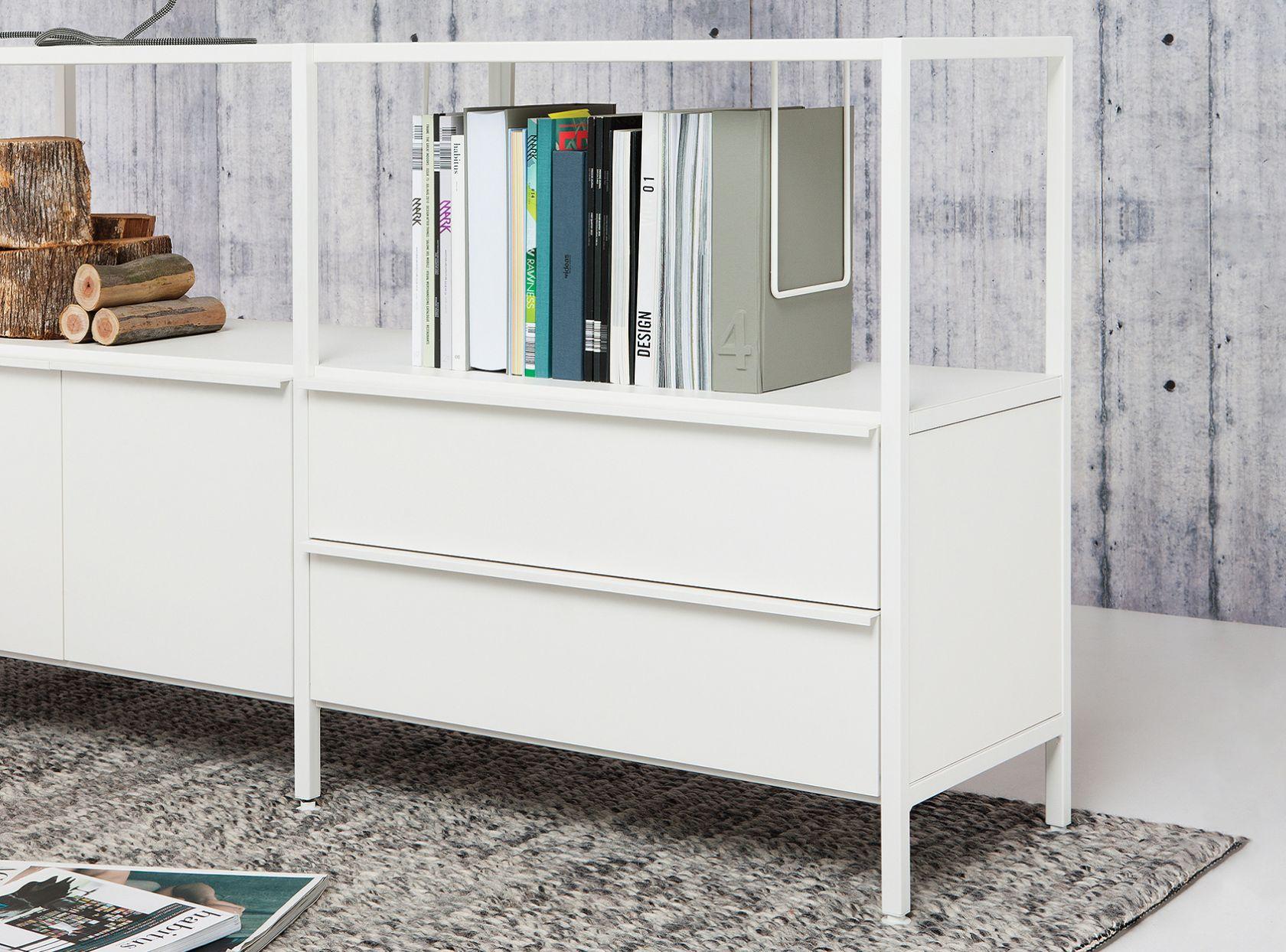 schiavello case storage in white cabinet with rug underneath
