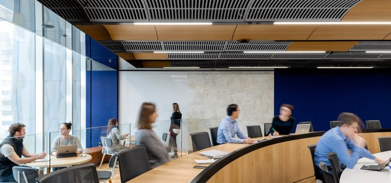 University of Melbourne Lecture Theatre Design & Fitout with Students and feature ceiling