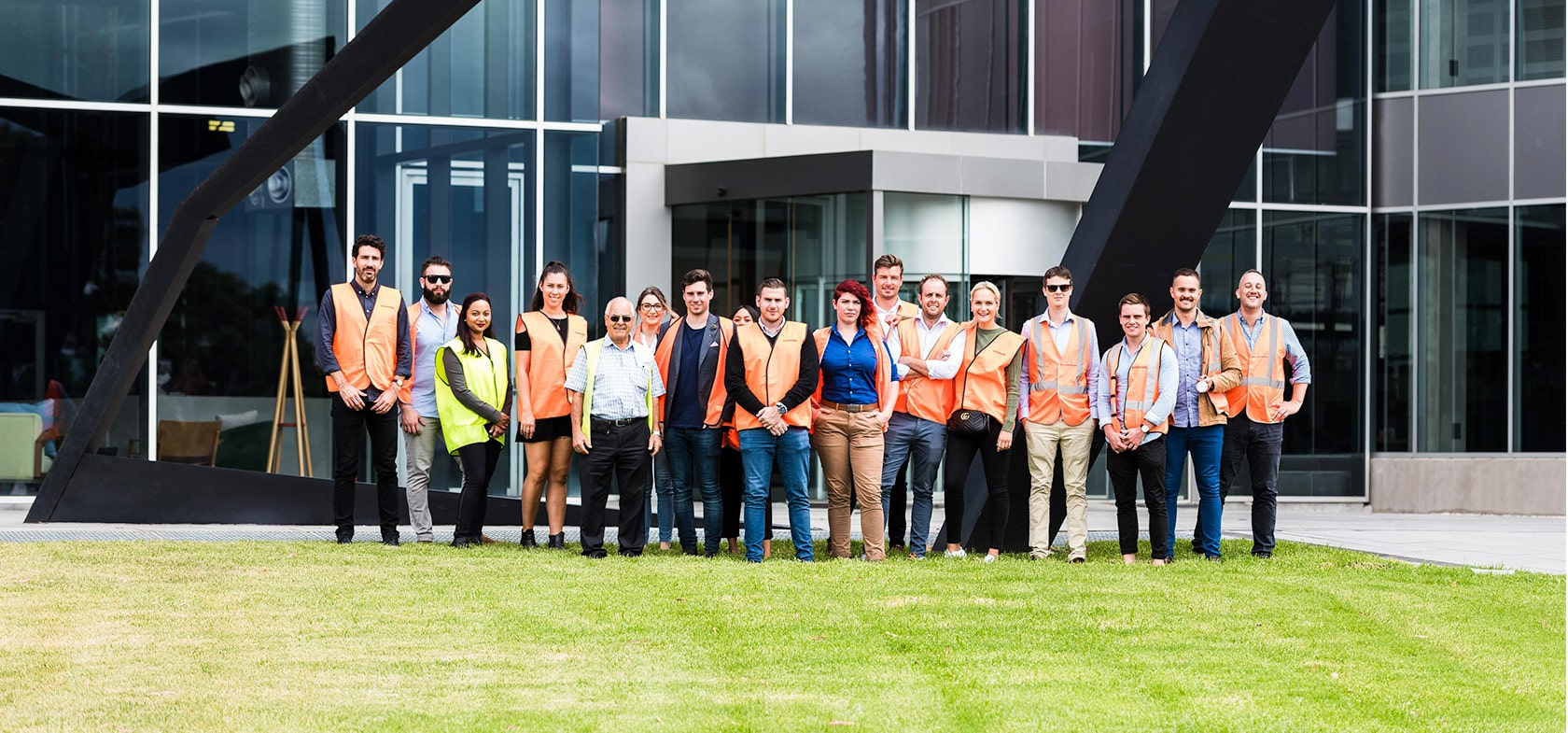 schiavello employees standing in front of tullamarine head office melbourne