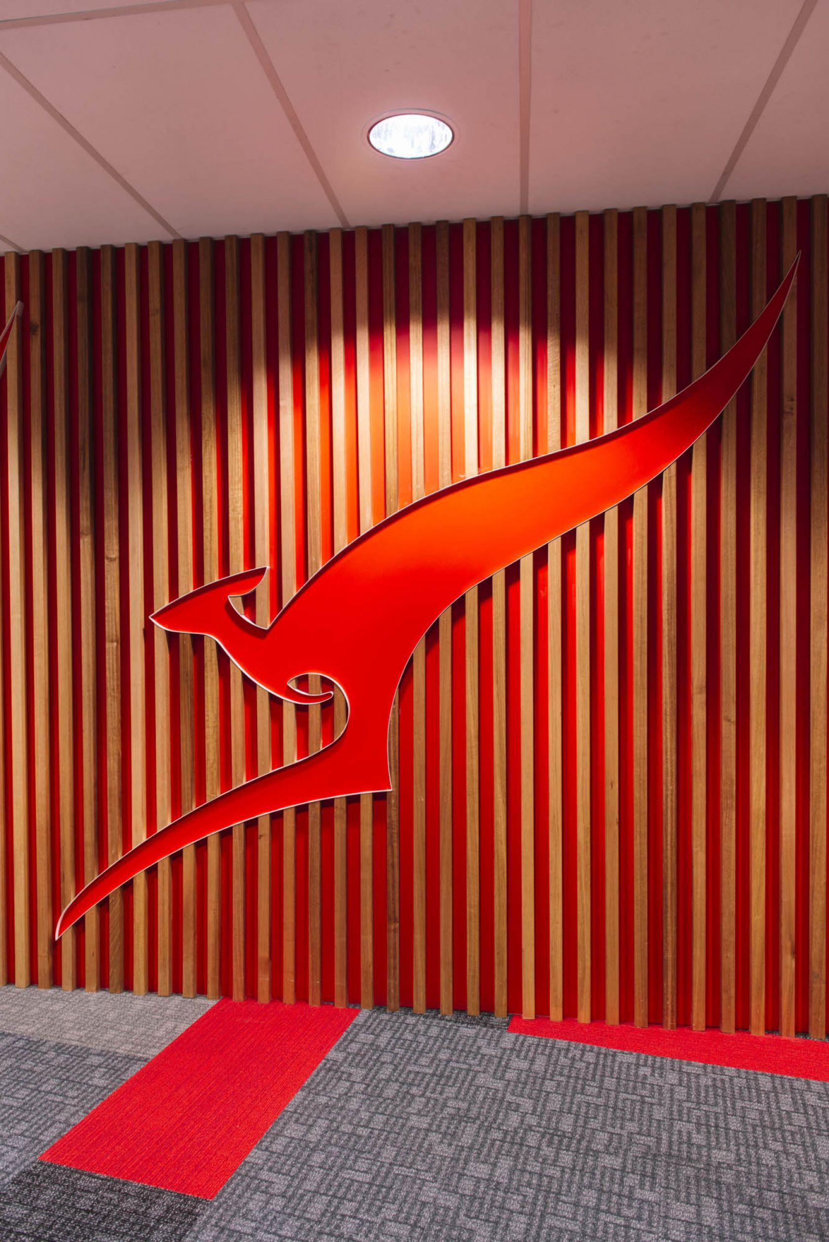 qantas hobart office fitout kangaroo logo