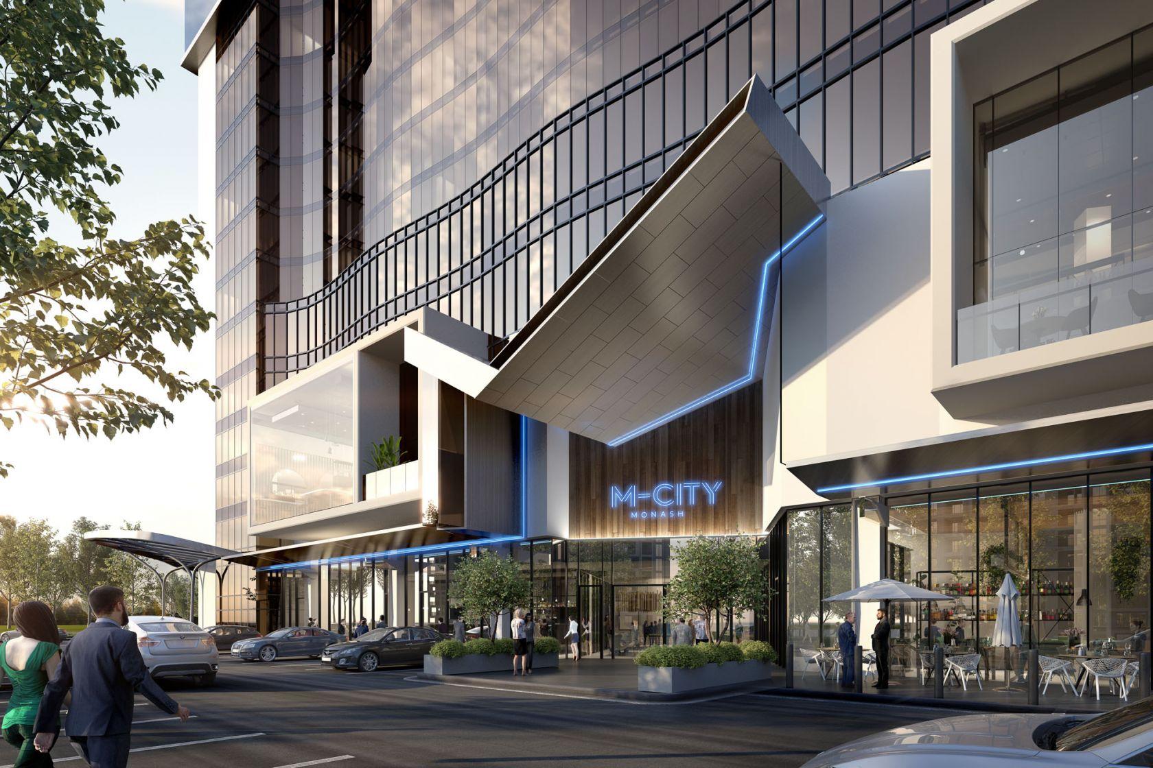 m-city food precinct building facade