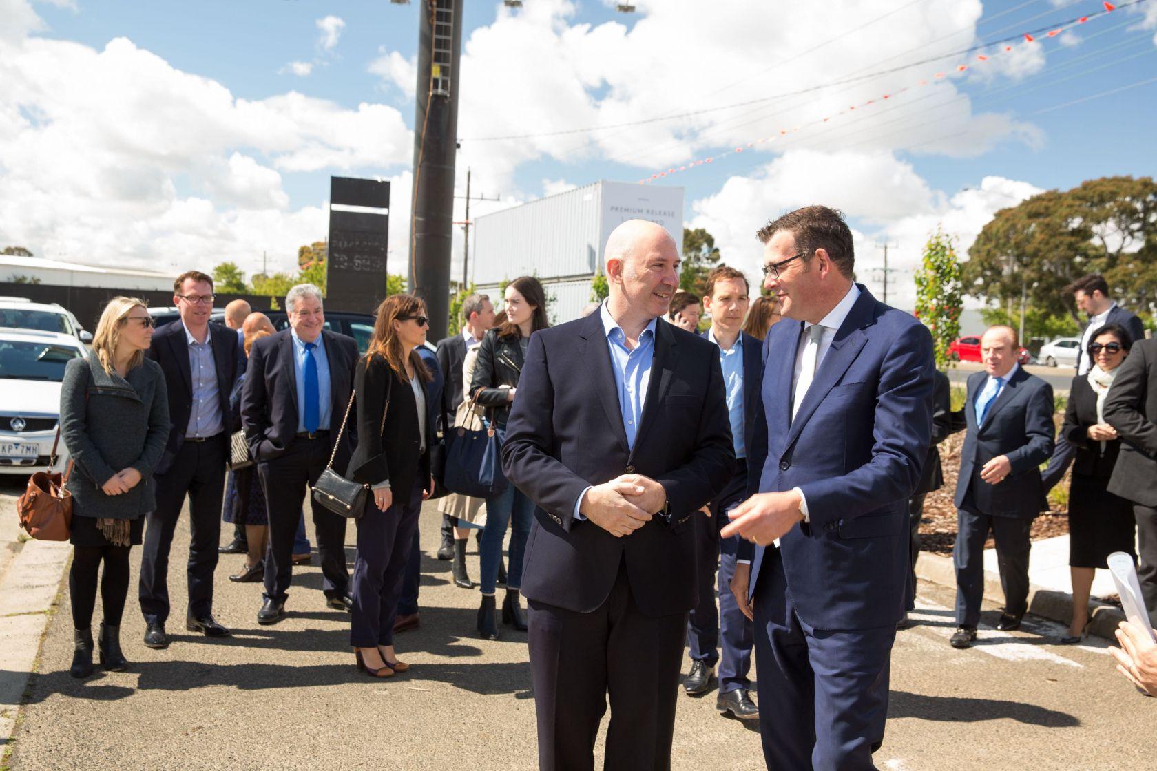 peter schiavello standing with premier daniel andrews m-city monash development turning of soil ceremony