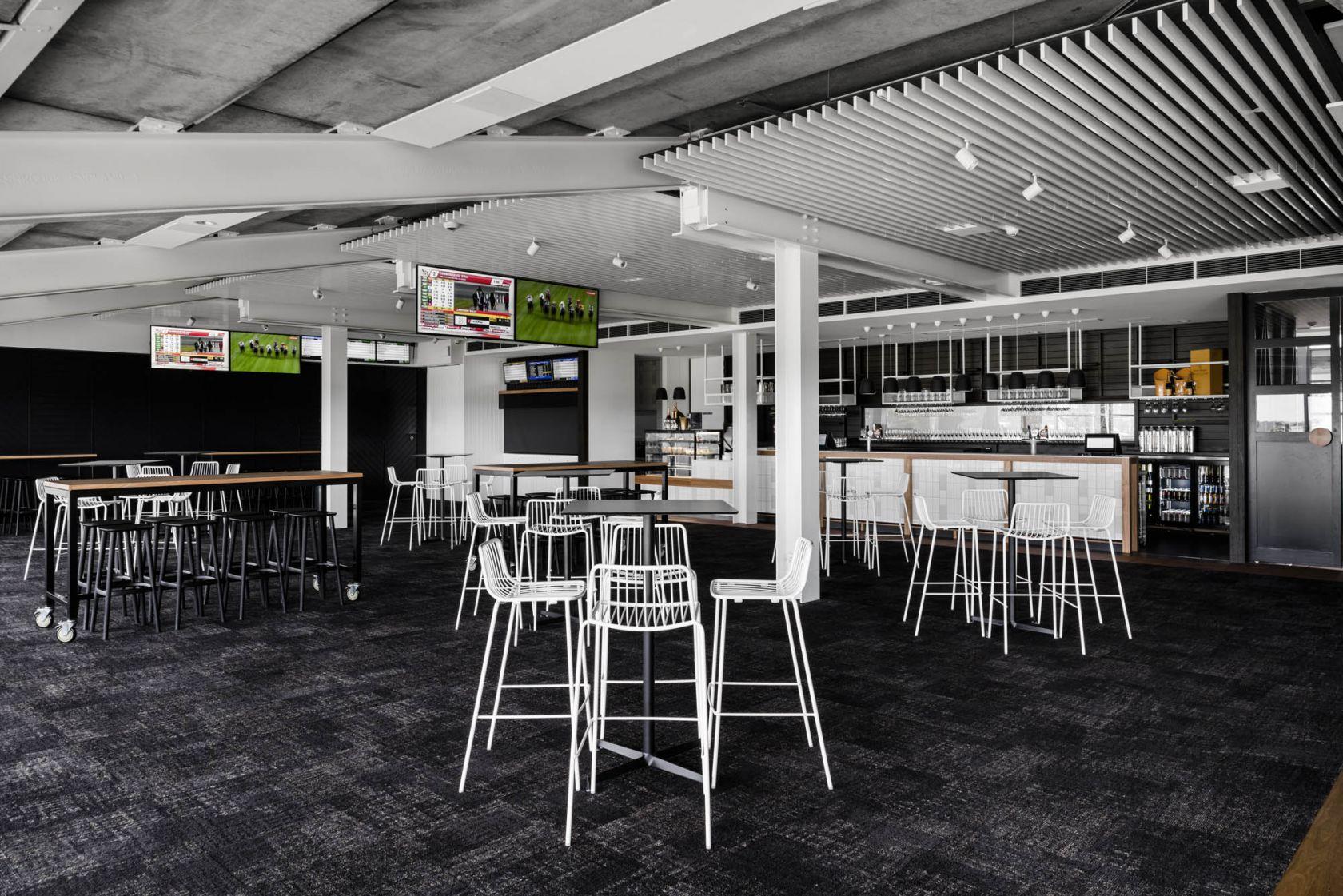 mornington racecourse melbourne fitout construction bar tv seating feature ceiling