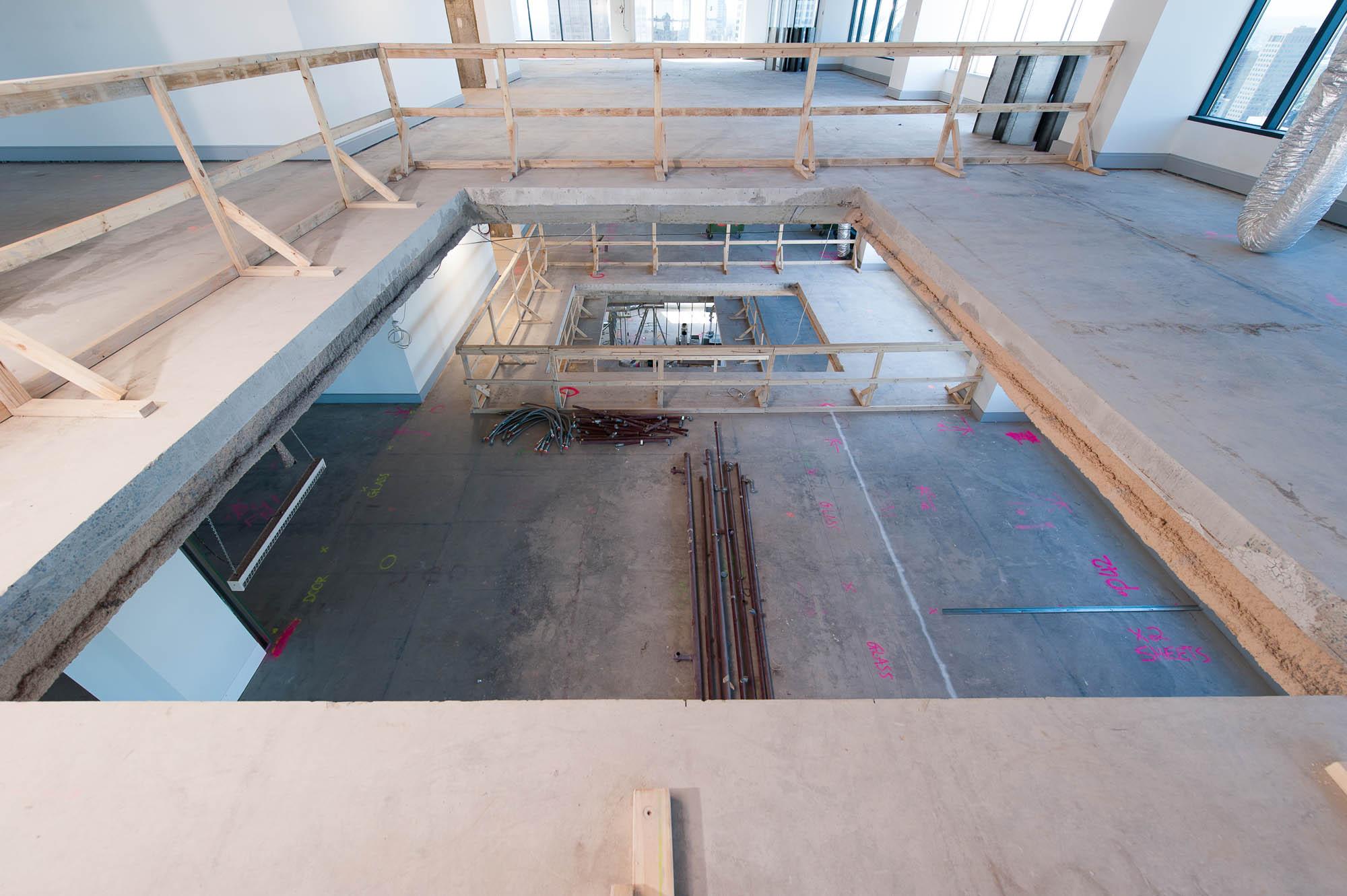 530 collins street melbourne building upgrade make good stair penetration