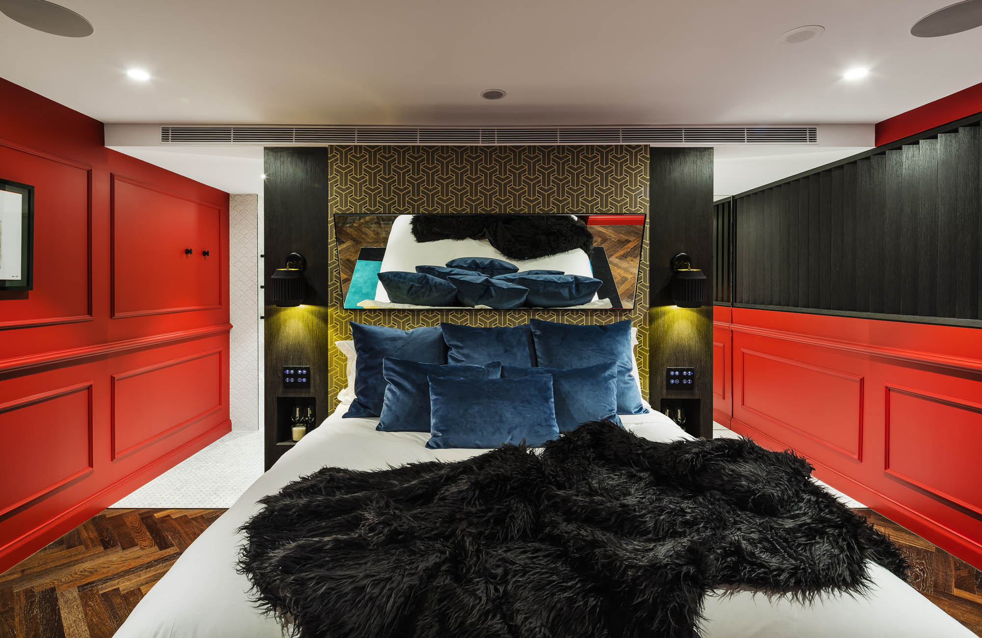 studios at the star sydney hotels design and construct nsw dark romance room red walls bed mirror black throw blanket