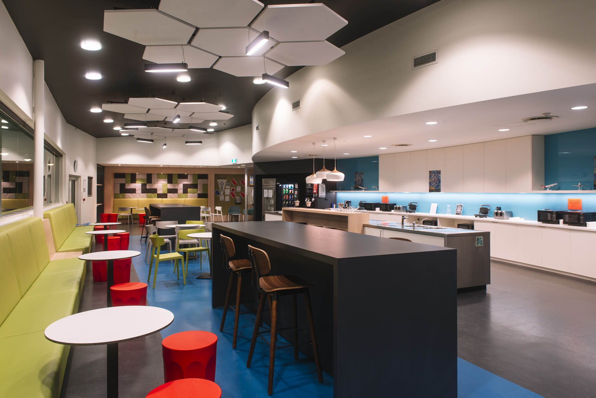 qantas hobart office fitout kitchen
