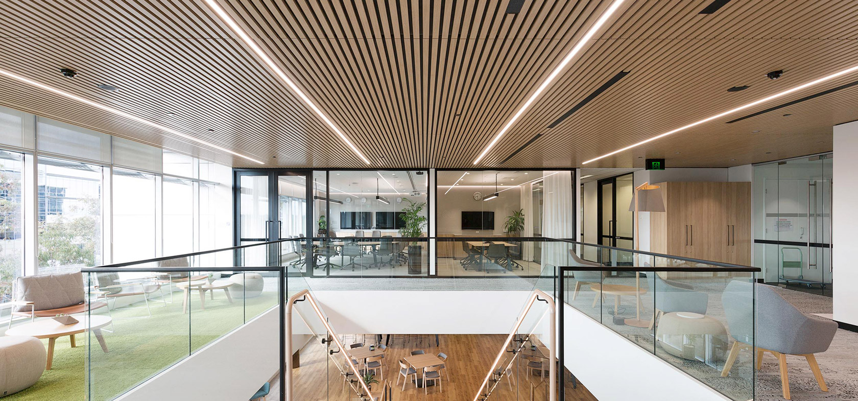 suez office fitout staircase timber ceiling