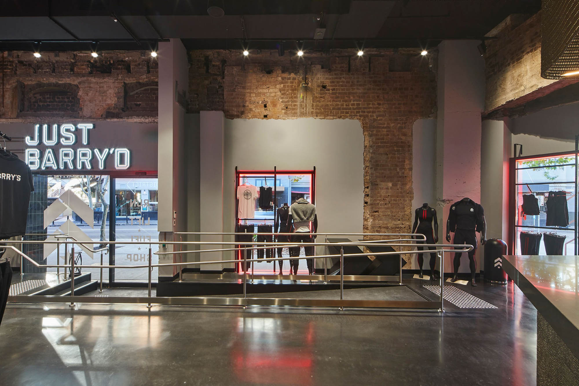 barrys bootcamp kings cross gym fitness construction fitout design signage raw brick ramp retail shopfront