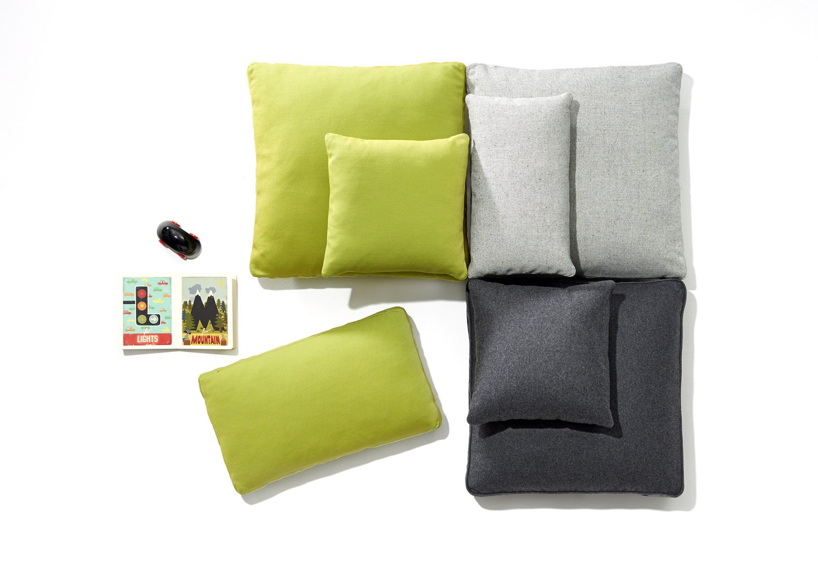 Scatter Platter Cushions Collection grey and green
