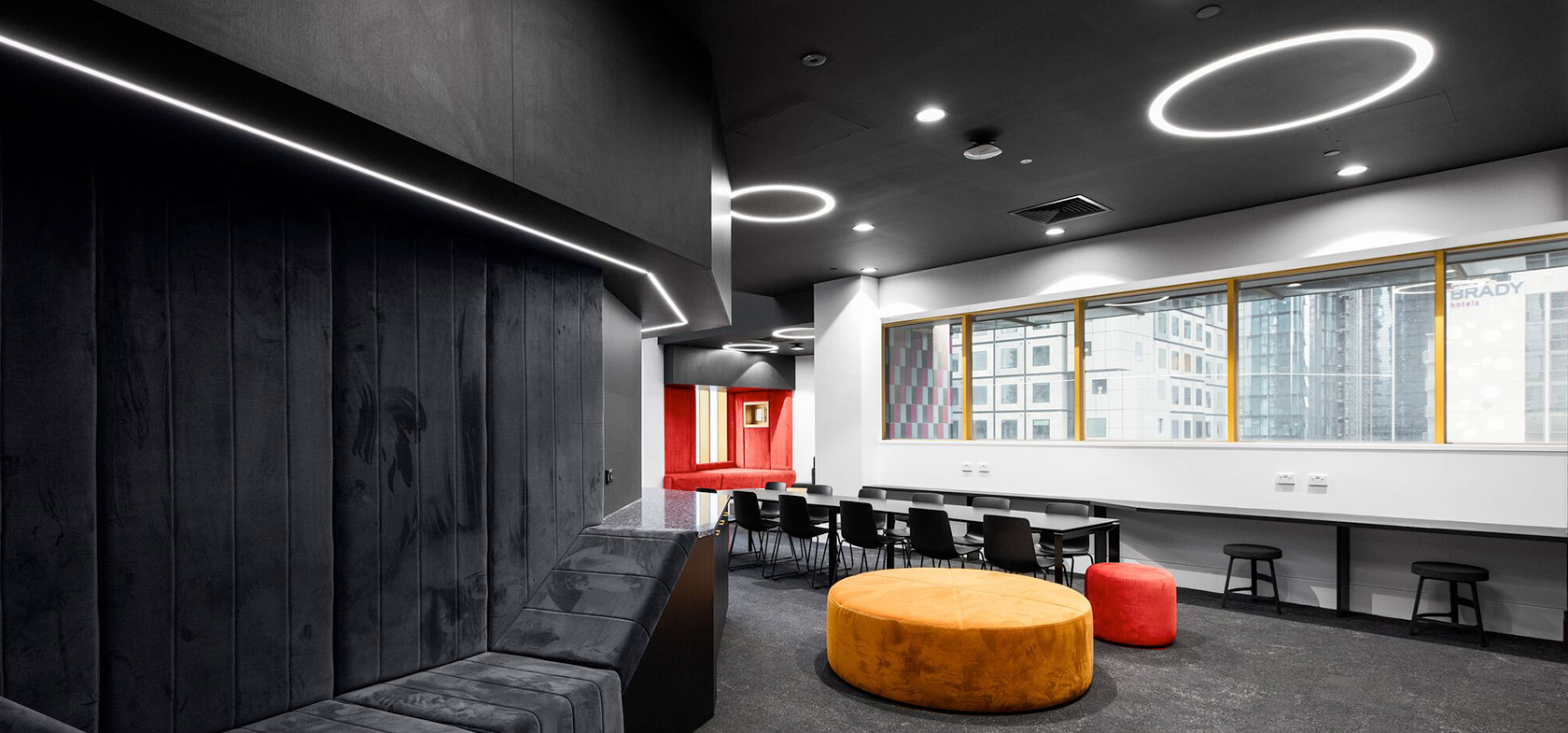 RMIT University School of Fashion and Textiles Building with fabric colour lounge seating
