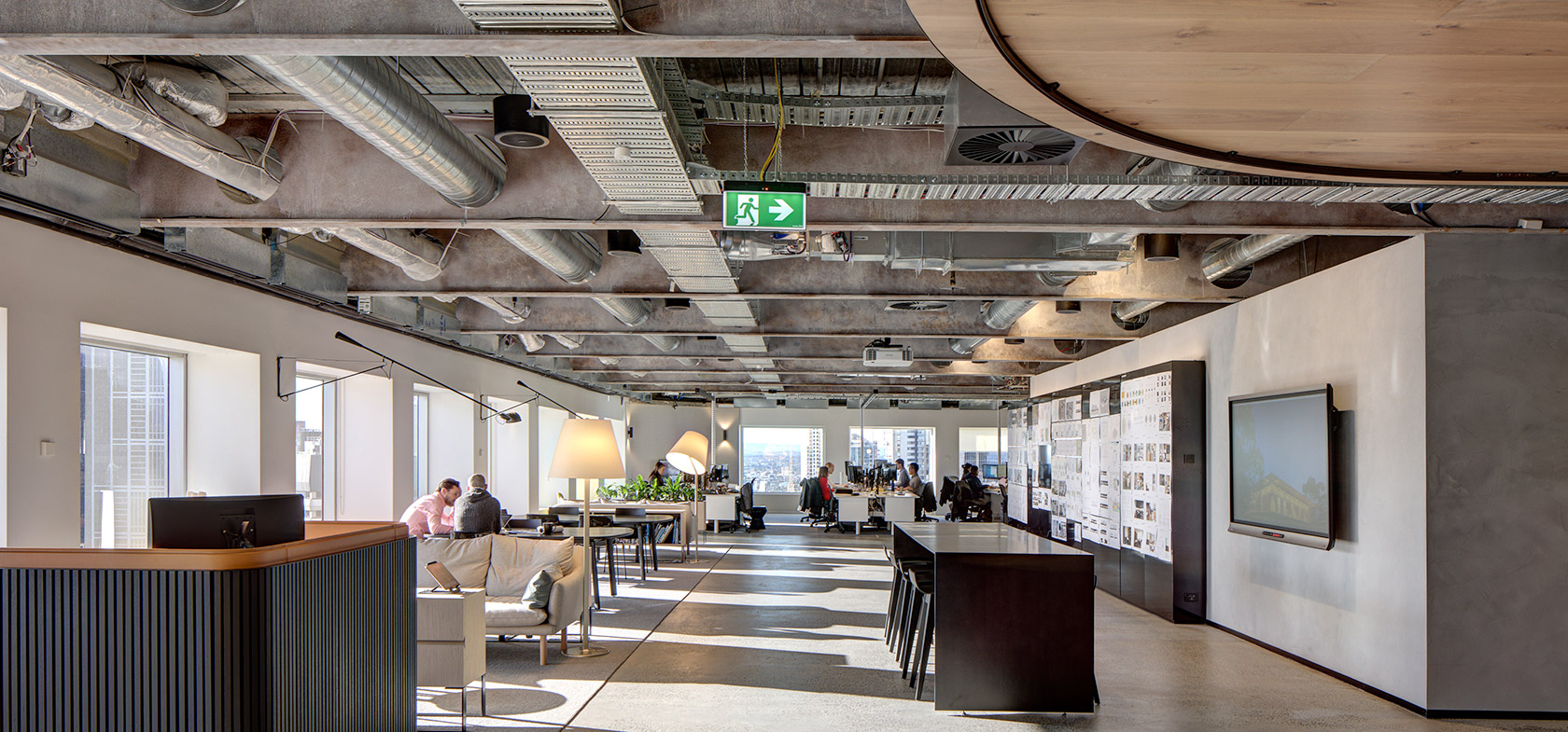 architectus office interior fitout melbourne exposed ceiling steal beams