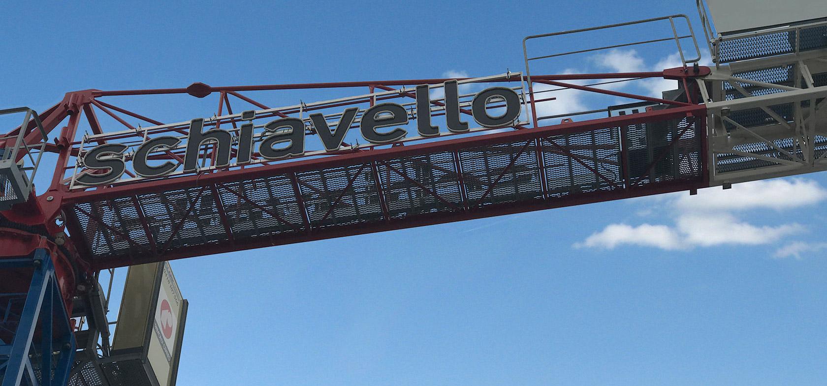 Schiavello Construction Crane Signage in Blue Sky