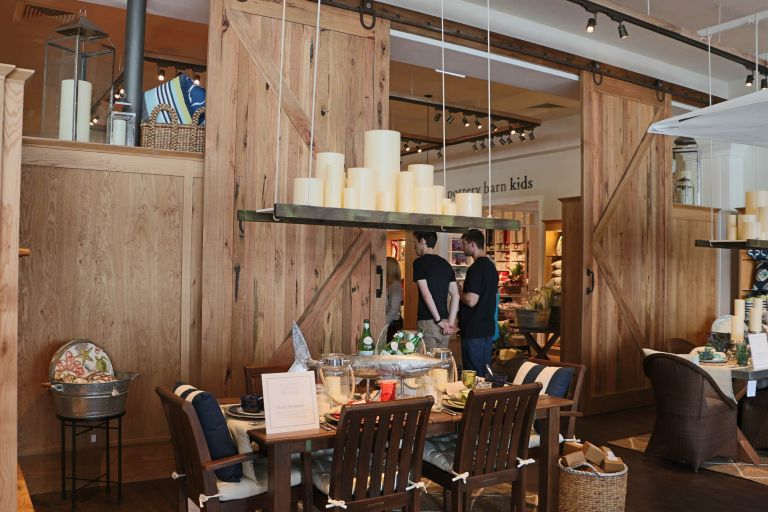 williams sonoma brisbane retail fitout timber barn doors candles