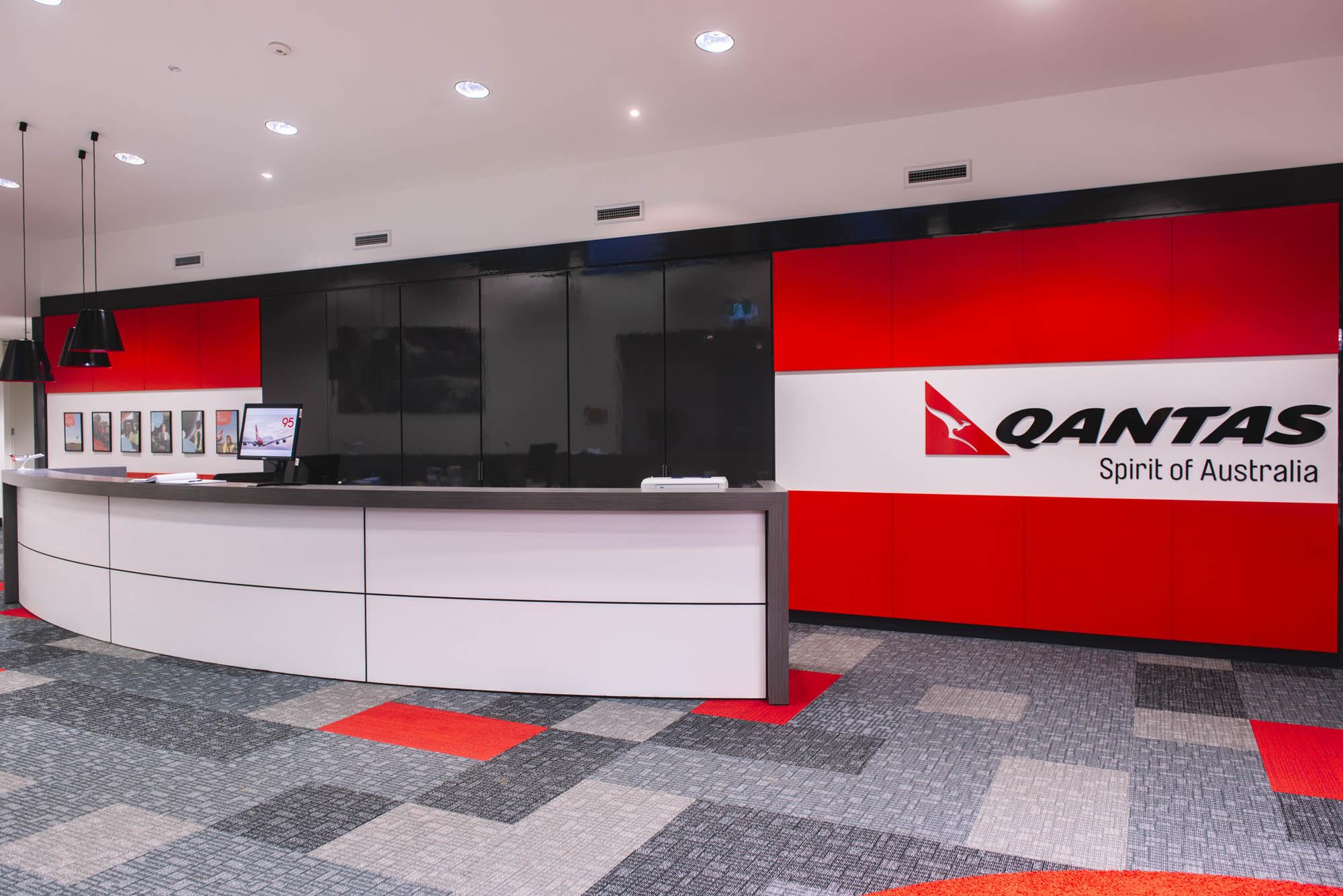qantas hobart office fitout reception