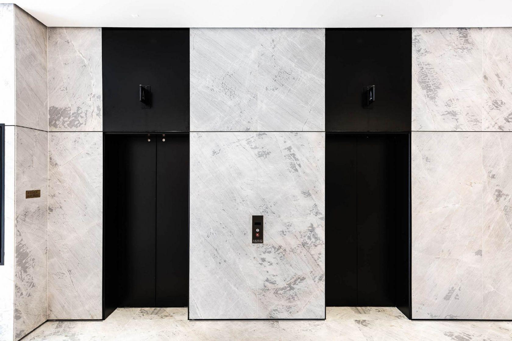 151 Macquarie Street interior construction asset refurbishment Sydney lift lobby marble monochrome