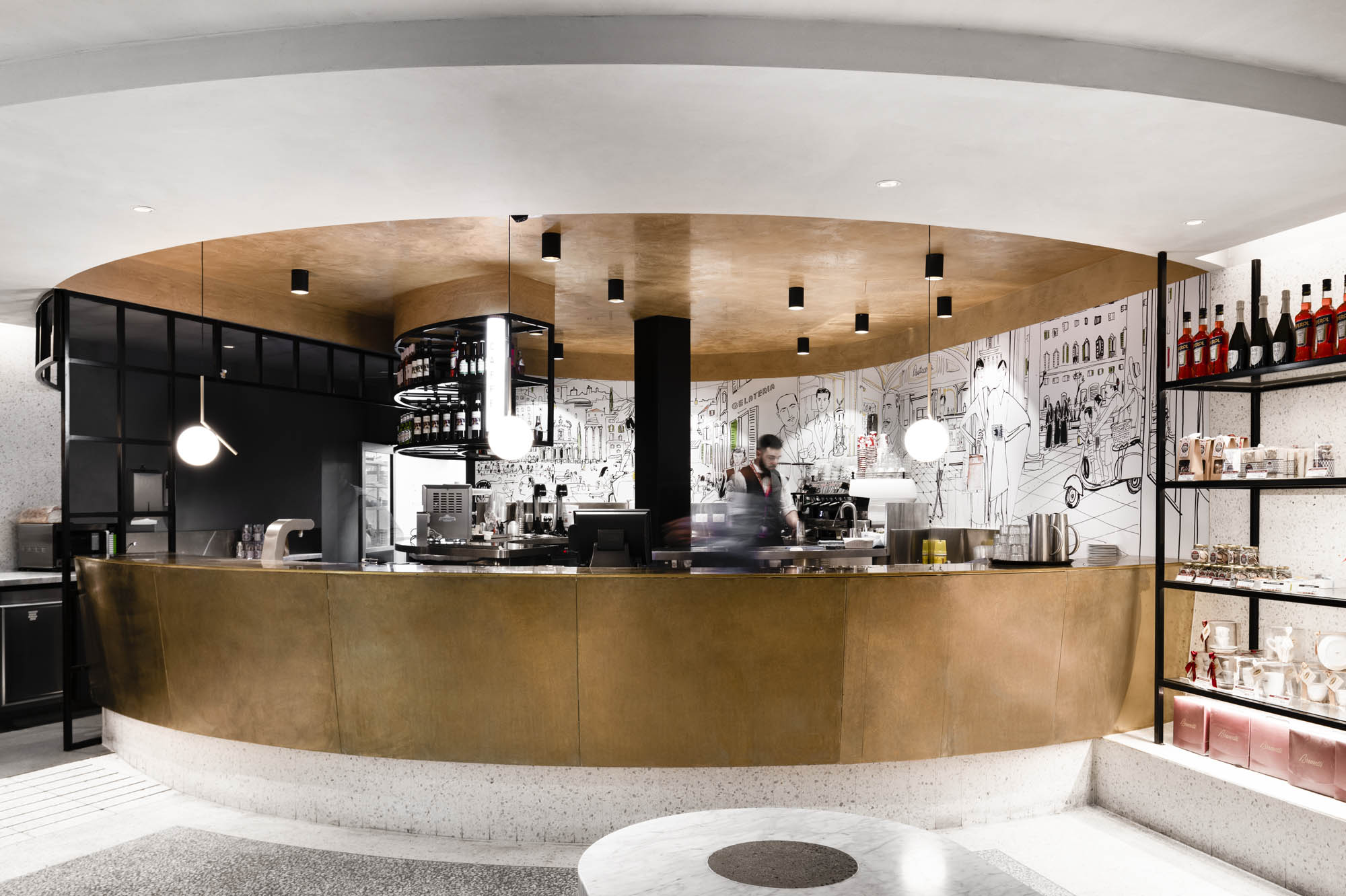 brunetti t2 hospitality interior fitout vic melbourne airport bar alcohol coffee bartender