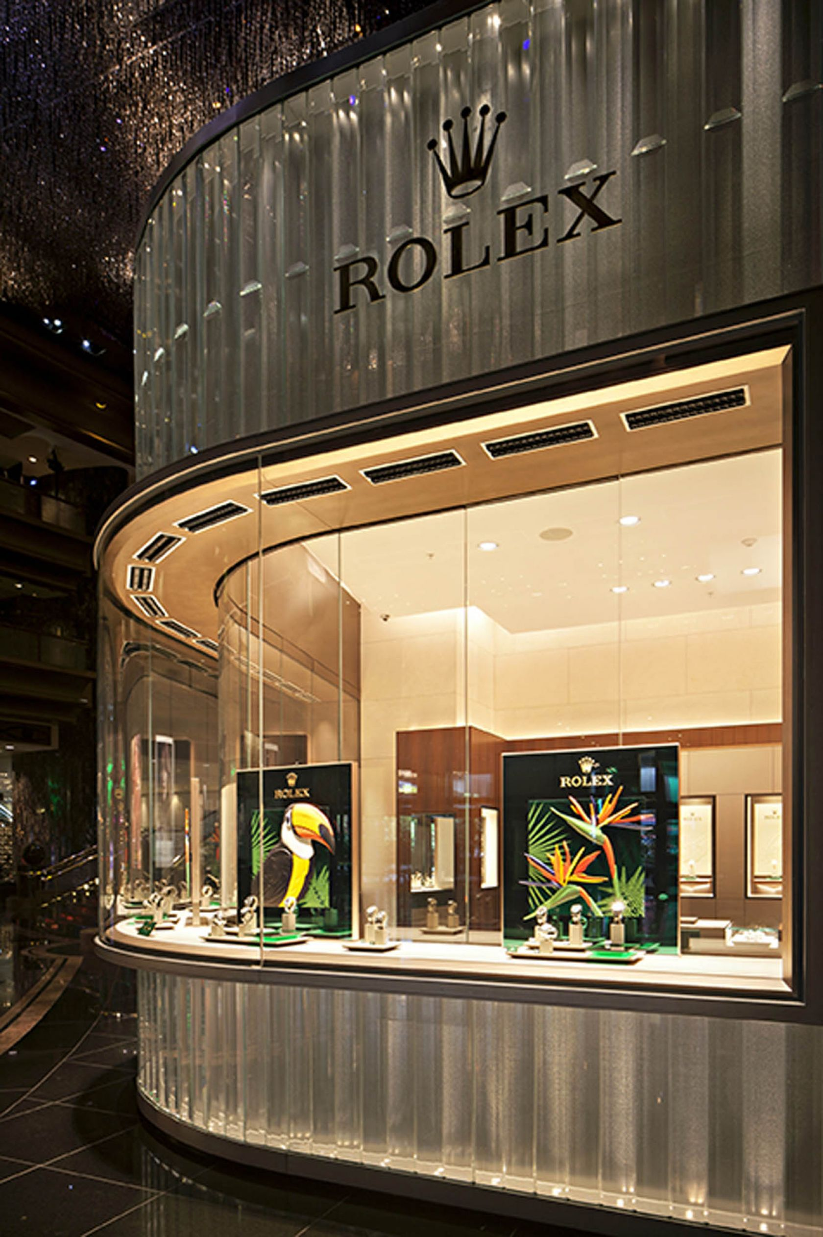 crown casino melbourne atrium curved display rolex feature panel