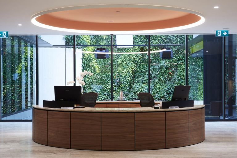 bdo melbourne office fitout circular reception desk