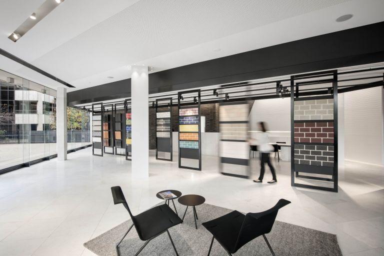 brickwork design austral brick studio adelaide fitout construction showroom sliding panels seating