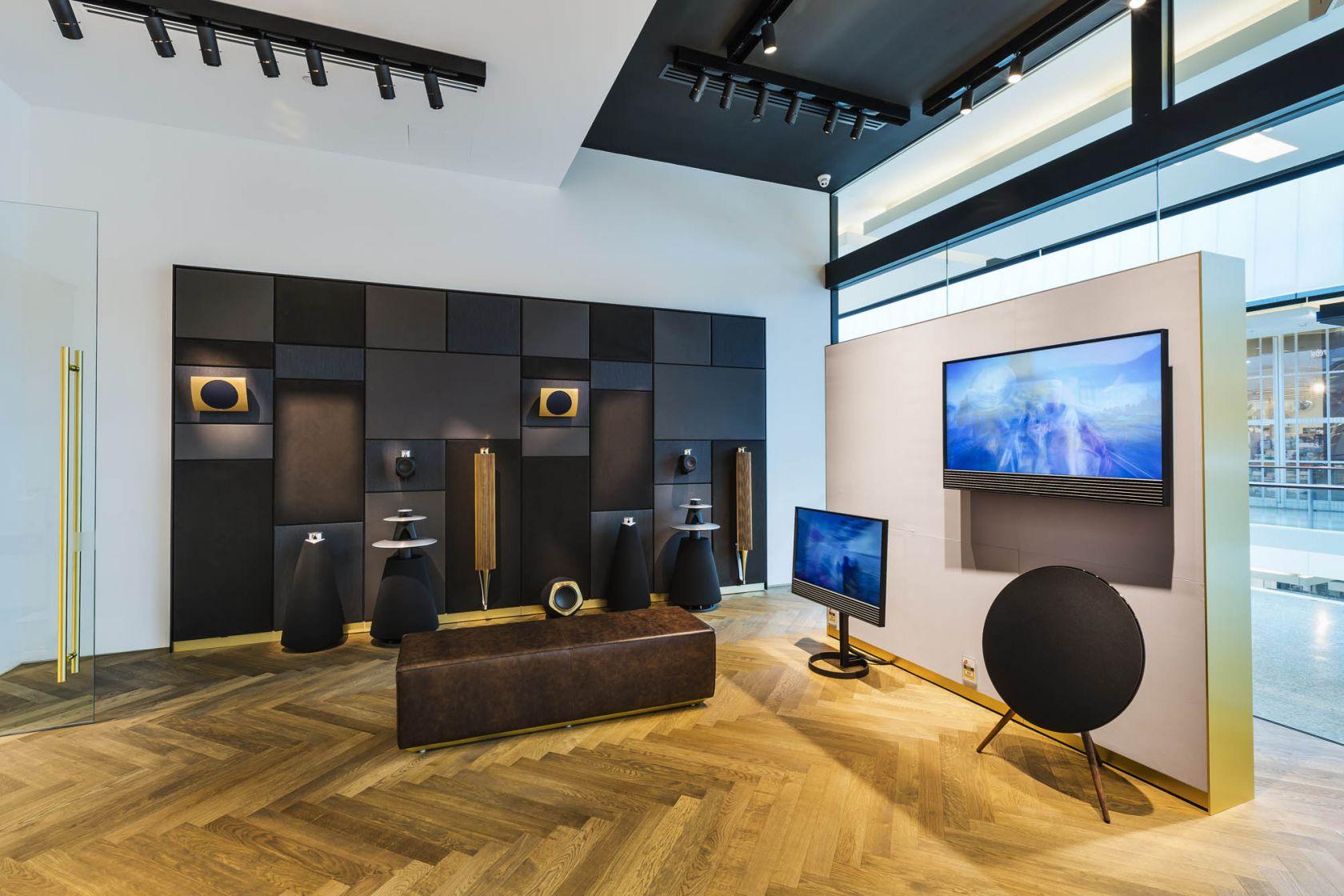 bang and olufsen retail sydney bondi showroom directional track lighting bulkhead experience room acoustic