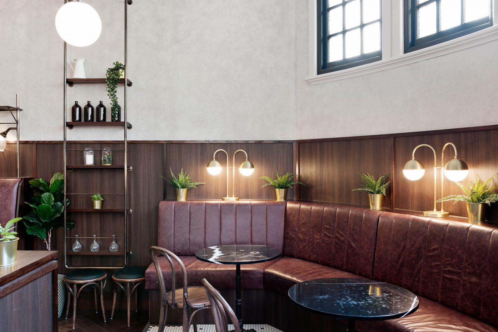 Clocks fitout flinders restaurant bar diner banquette seating shelves