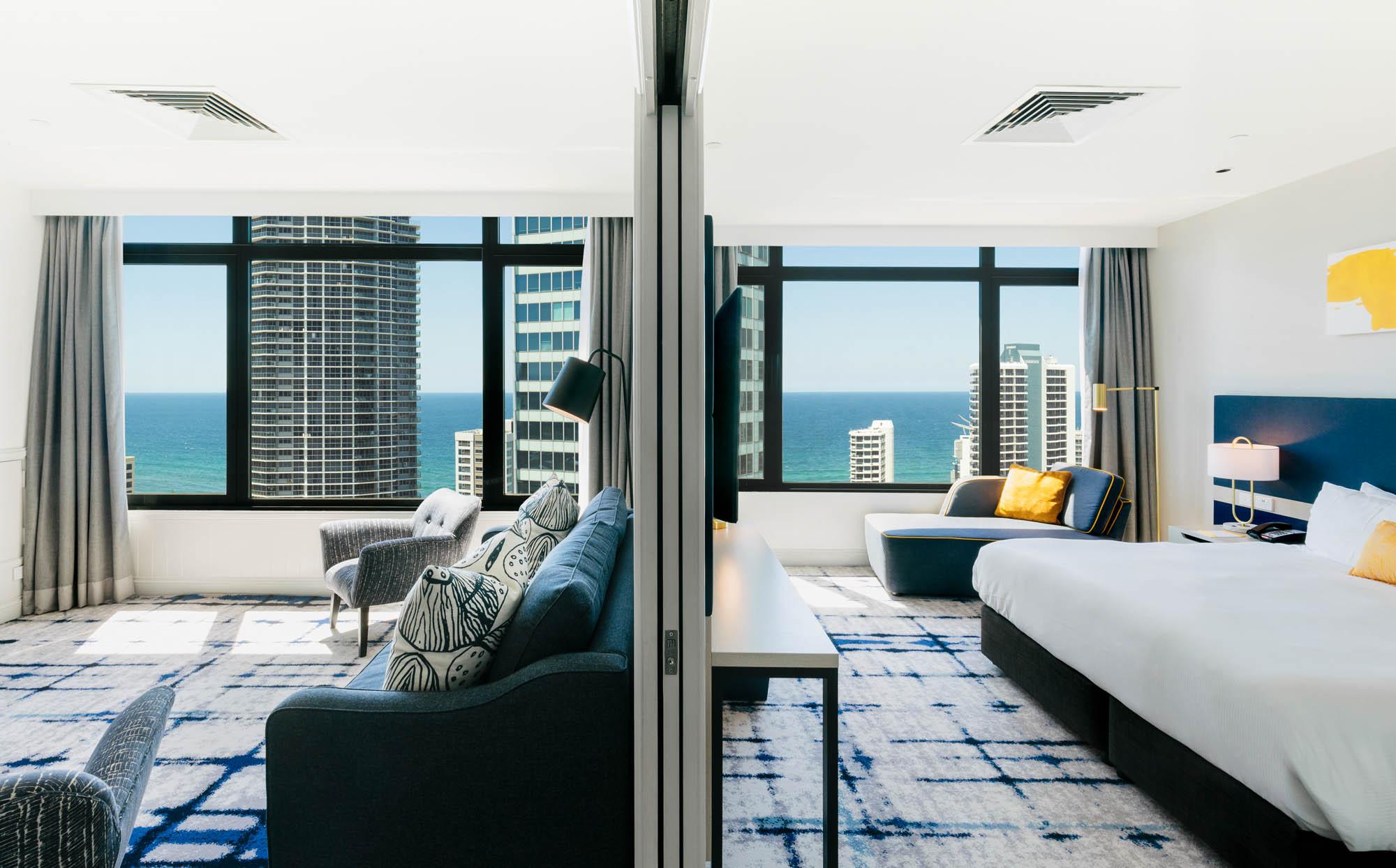 voco hotel gold coast fitout refurbishment construction executive suite studio bedroom loungeroom