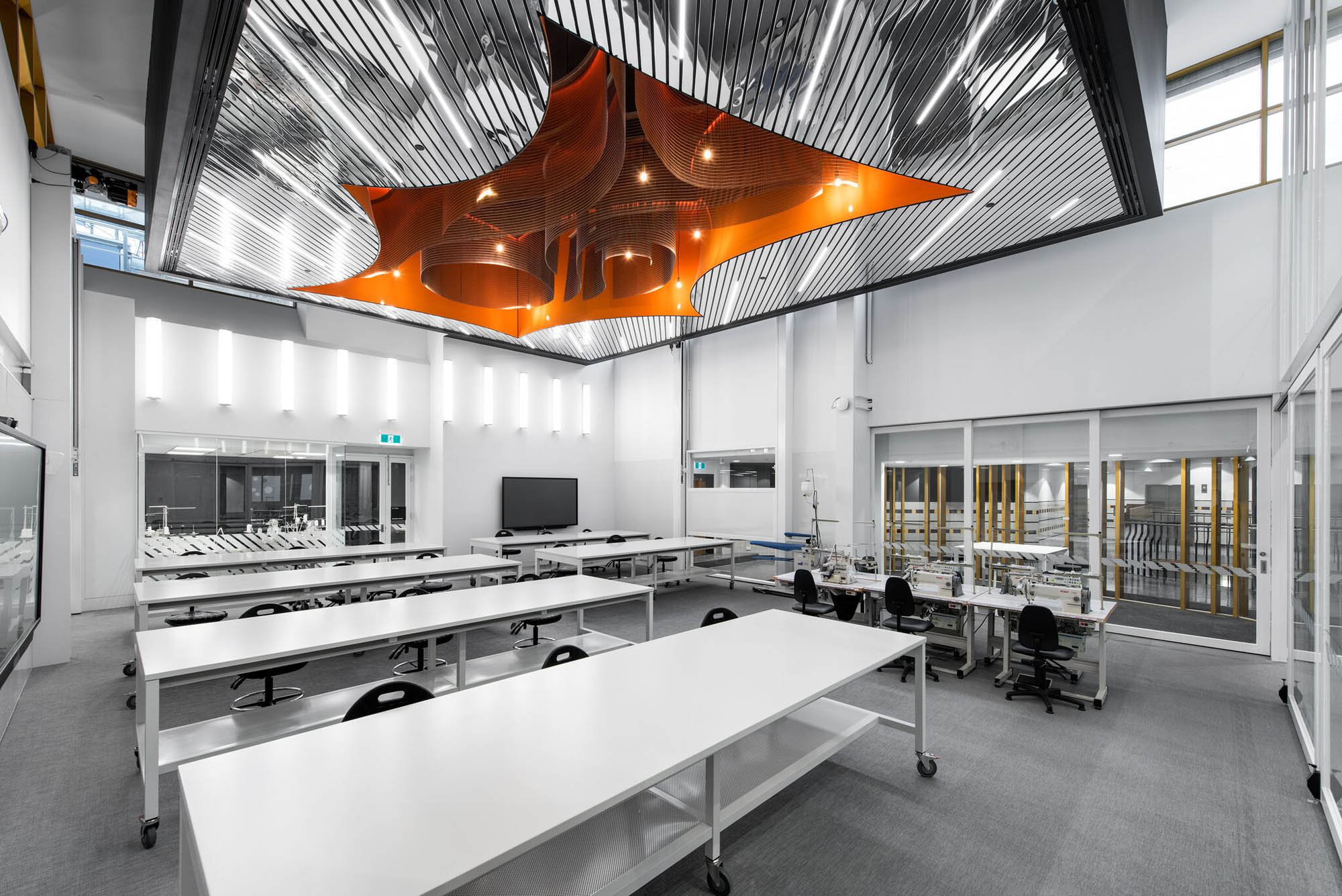 RMIT University School of Fashion and Textiles building with barrisol lumiere ceiling