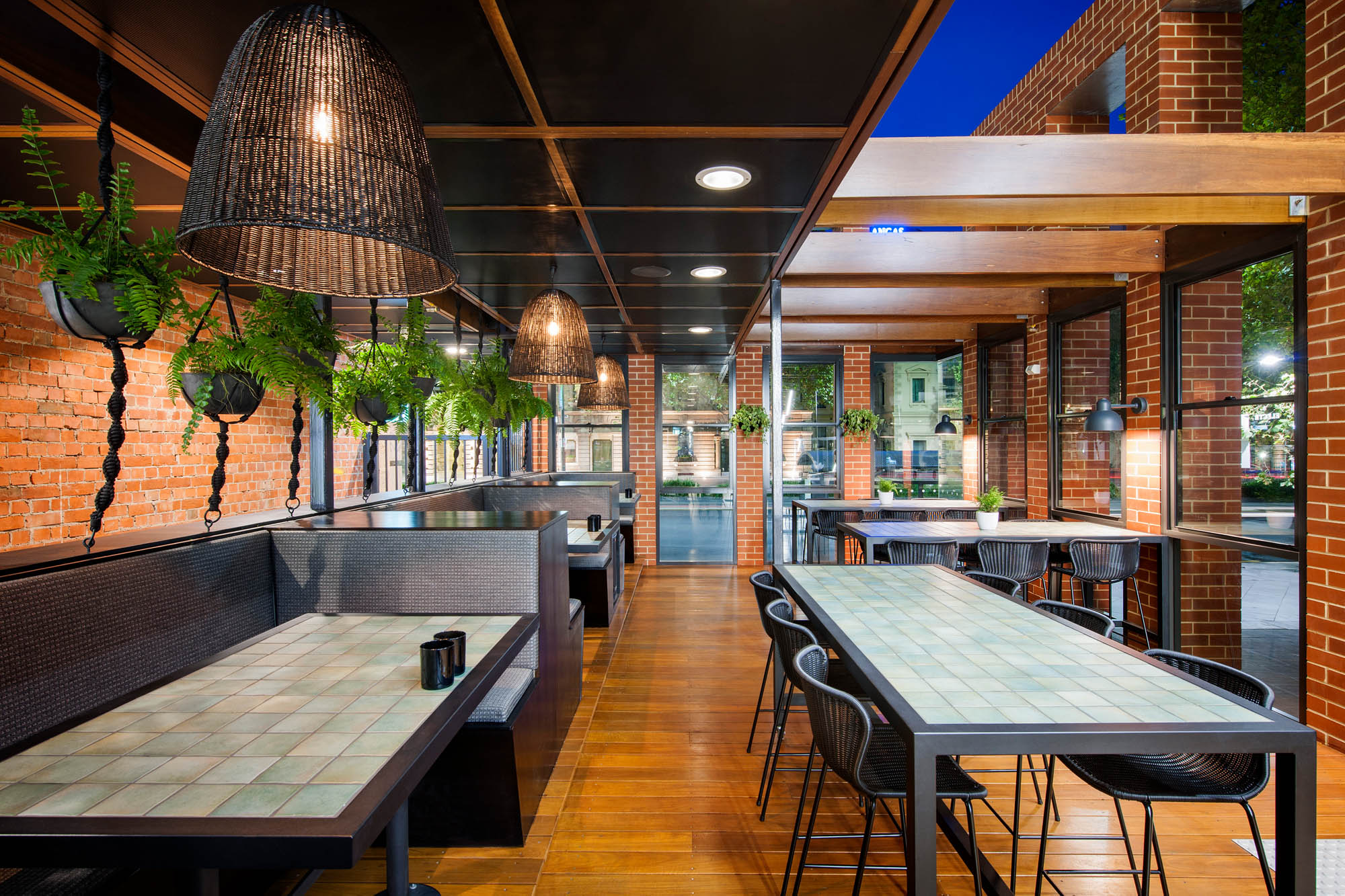 electra house adelaide heritage outdoor dining alfresco bar timber pendant lighting bricks