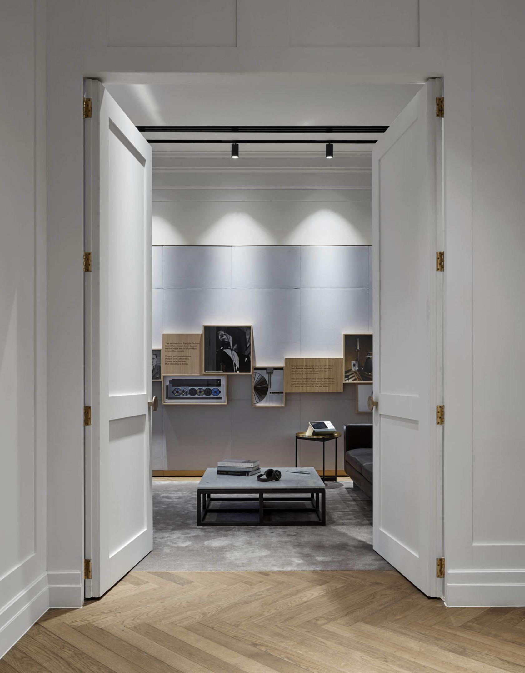bang and olufsen melbourne showroom double doors track lighting herringbone