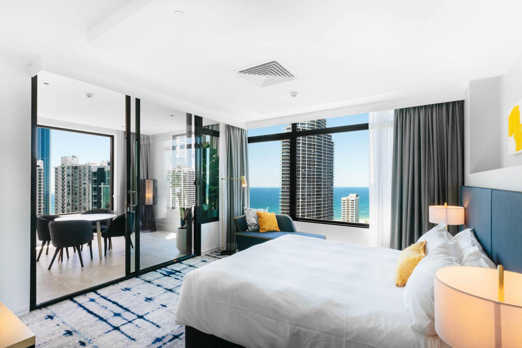 voco hotel gold coast fitout refurbishment construction executive suite bedroom terrace