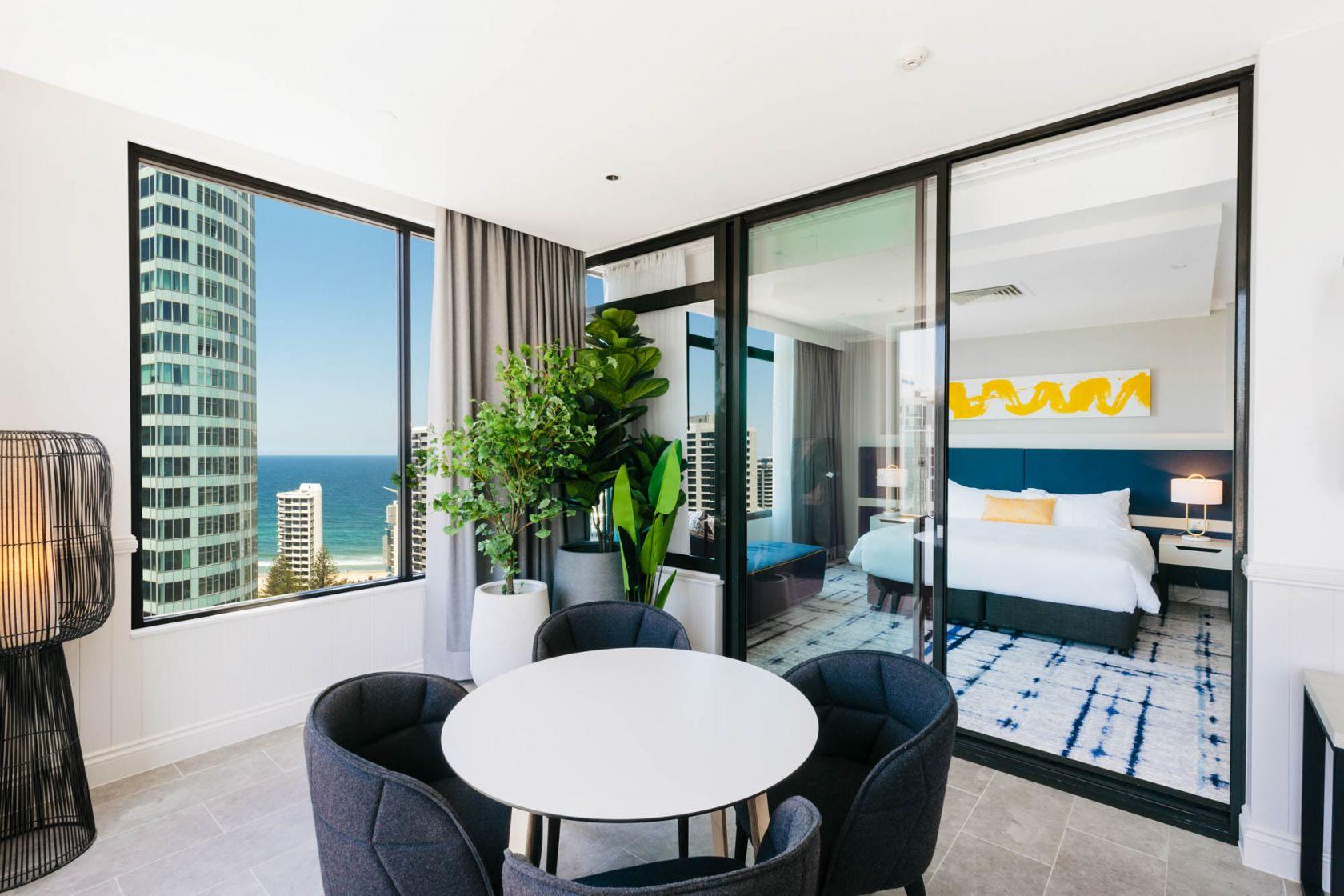 voco hotel gold coast fitout refurbishment construction executive suite terrace bedroom