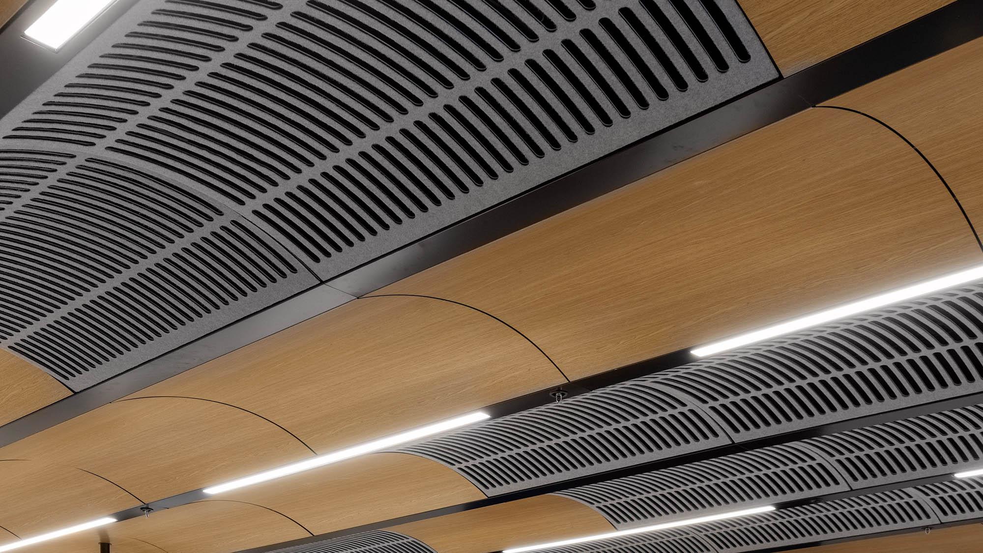 University of Melbourne carlton custom timber look acoustic ceiling