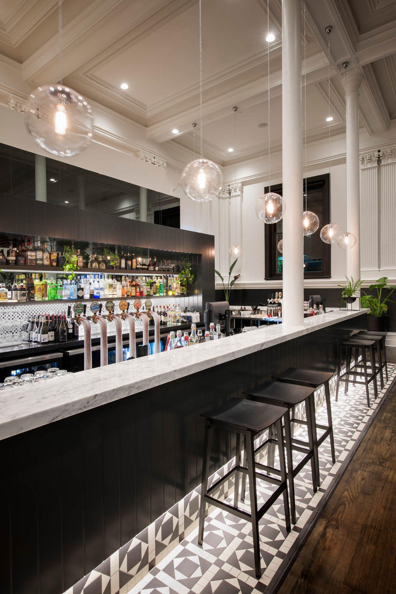 electra house adelaide heritage bar tiles pendant light column coffered ceiling