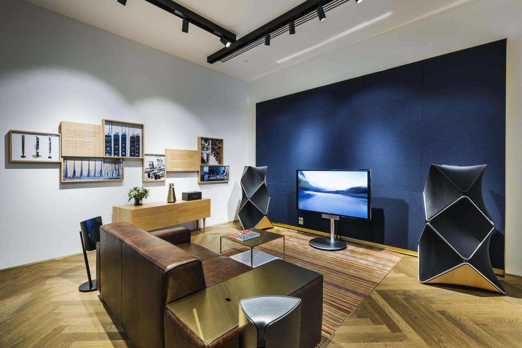 bang and olufsen retail sydney bondi showroom herringbone timber directional track lighting lounge experience