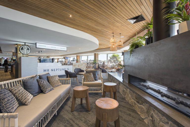 lakes hotel hospitality interior construction sa adelaide west lakes mr neptunes fireplace coffee juice treats