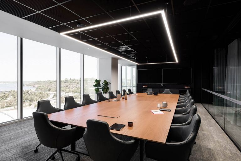 boardroom table with rectangle led light and schiavello palomino chairs