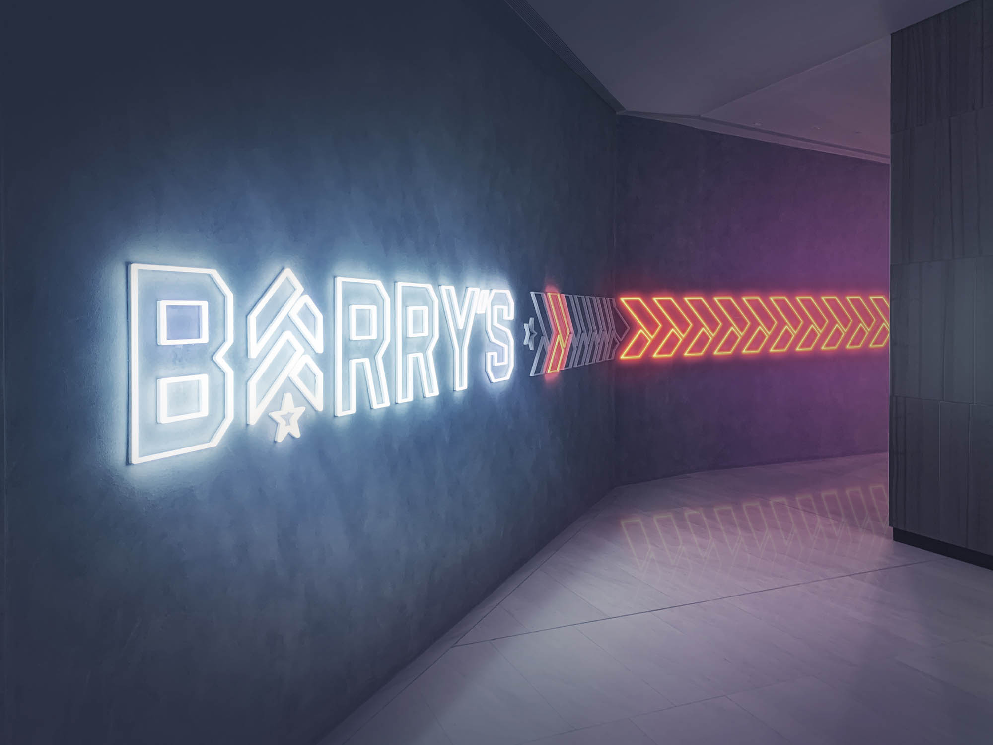 Barry's Bootcamp Robinson Square Singapore fitout construction gym workout amenities signage hallway lighting led