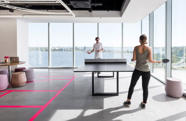 dentsu aegis network breakout space table tennis with perth bay water view