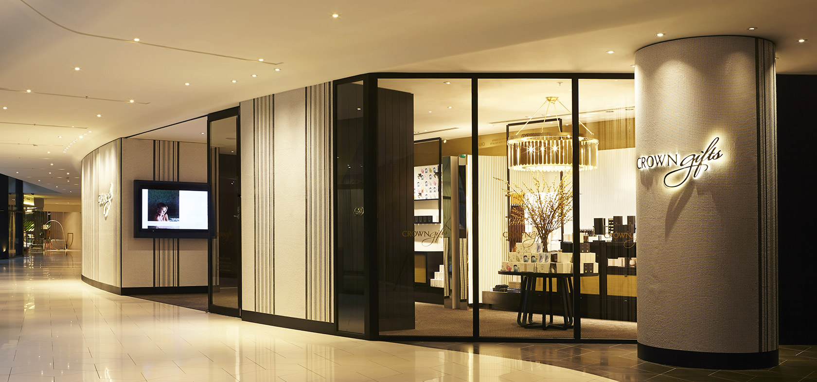 Crown gift store gold fascia retail fitout melbourne